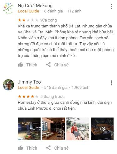 Đánh giá Nhà Nội homestay trên Google Maps