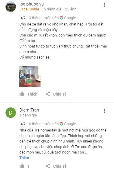 Nhận xét Nhà Của Tre House Dalat trên Google Maps