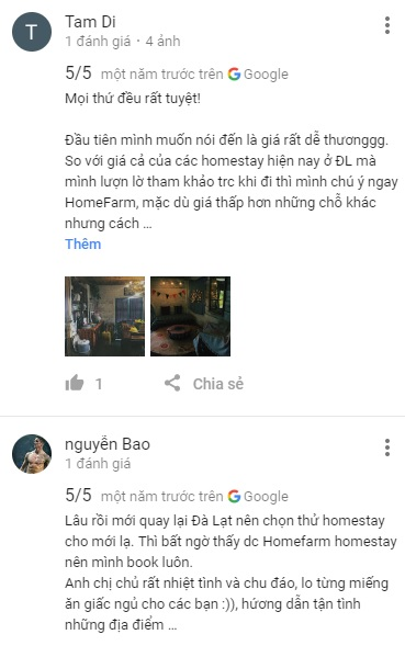 Review HomeFarm homestay trên Google Maps
