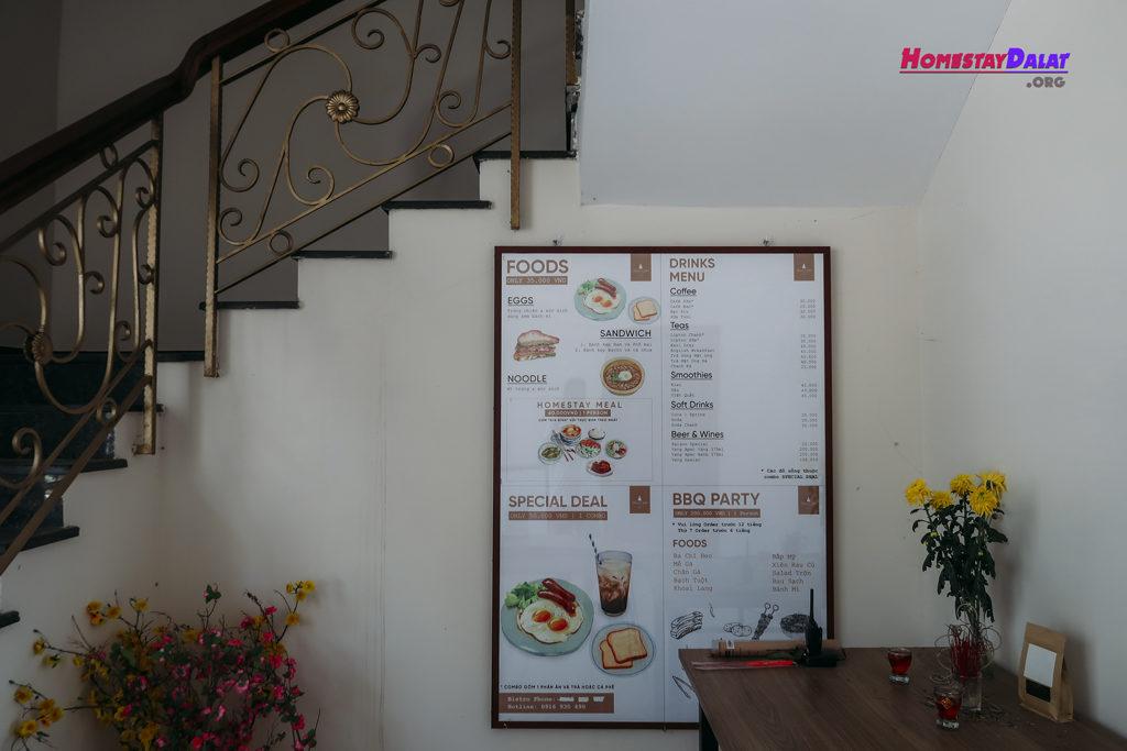Bảng menu homestay Romeo and Juliet Đà Lạt