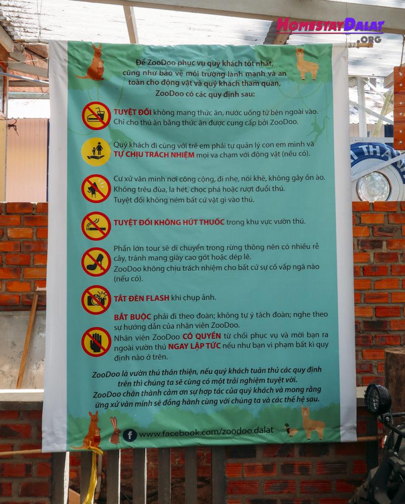 Những quy tắc khi vào ZooDoo Đà Lạt