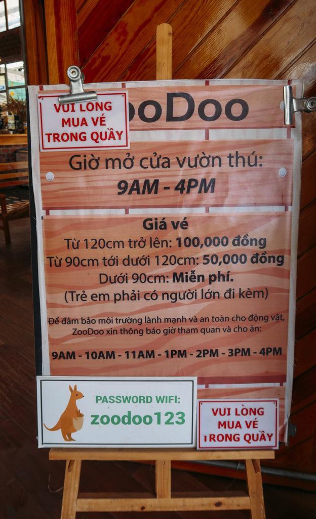 Bảng giá vé và giờ tham quan ở vườn thú ZooDoo Đà Lạt
