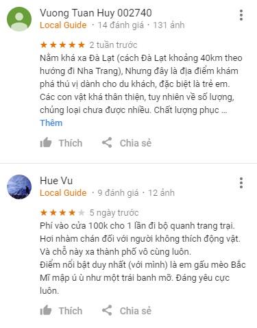 Review khách du lịch ZooDoo trên Google Maps