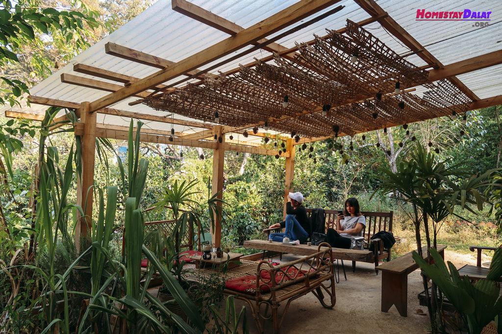 Không gian sân vườn thoáng mát và riêng tư ở Quán Của Thời Thanh Xuân