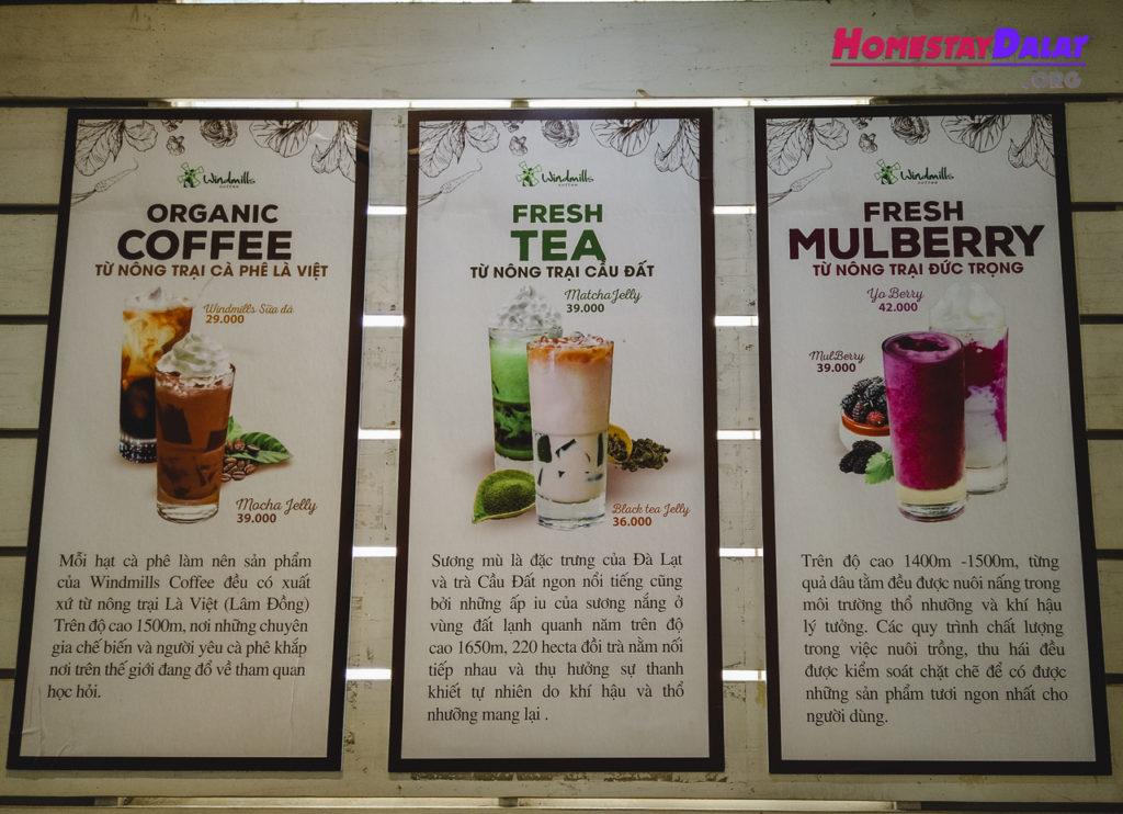 Một số loại nước uống ở Windmills Coffee Đà Lạt